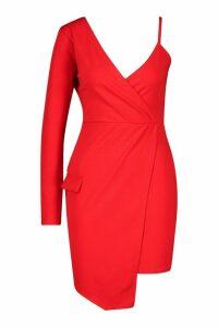 Womens Asymmetric Wrap Front Blazer Dress - red - 12, Red