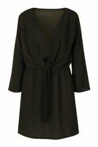 Womens Knot Front Woven Wrap Dress - black - 10, Black