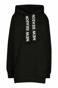 Womens Hooded Slogan Tape Sweatshirt Dress - black - 10, Black