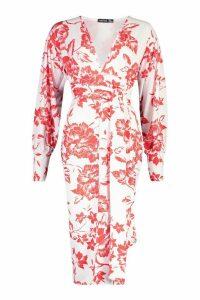 Womens Floral Print Plunge Tie Waist Midi Dress - red - 10, Red