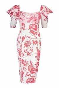 Womens Floral Print Puff Sleeve Drape Detail Midi Dress - red - 14, Red