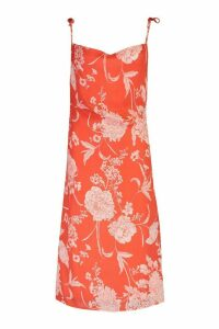 Womens Floral Print Cowl Neck Slip Dress - red - 14, Red