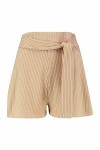 Womens Soft Ribbed Tie Front Shorts - beige - 16, Beige