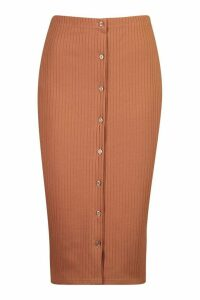 Womens Soft Rib Button Front Midi Skirt - beige - 8, Beige