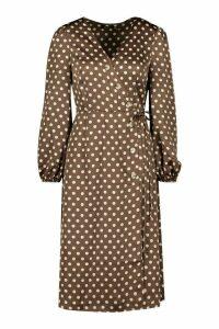Womens Woven Spot Horn Button Wrap Midi Dress - brown - 16, Brown