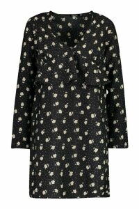 Womens Polka Dot Floral Frill Smock Dress - black - 16, Black