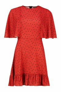 Womens Polka Dot Flute Sleeved Skater Dress - red - 14, Red