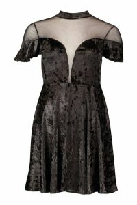 Womens Crushed Velvet Mesh Inster Skater Dress - black - 16, Black