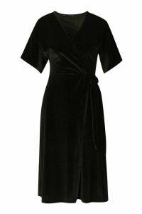 Womens Velvet Wrap Tie Midi Skater Dress - black - 16, Black