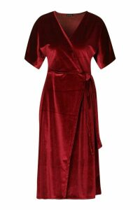 Womens Velvet Wrap Tie Midi Skater Dress - red - 16, Red