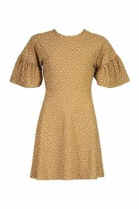 Womens Polka Dot Open Back Skater Dress - beige - 16, Beige