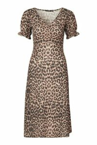 Womens Leopard Print Ruched Front Midi Dress - multi - 16, Multi