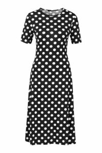 Womens Polka Dot Short Sleeve Midi Dress - black - 14, Black