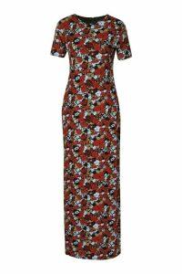 Womens Floral Short Sleeve Maxi Dress - black - 12, Black