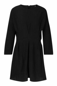 Womens Woven Pintuck Shift Dress - black - 16, Black