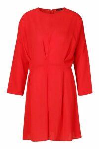 Womens Woven Pintuck Shift Dress - red - 16, Red