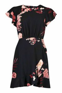 Womens Floral Woven Round Neck Dress - black - 14, Black