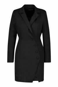 Womens Woven Self - Fabric Button Blazer Dress - black - 14, Black