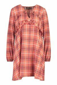 Womens Check Ruffle Detail Smock Dress - pink - 16, Pink