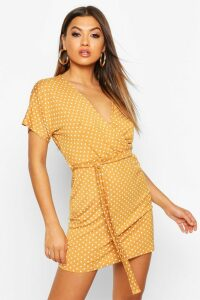 Womens Polka Dot Tie Waist Wrap Tea Dress - yellow - 16, Yellow