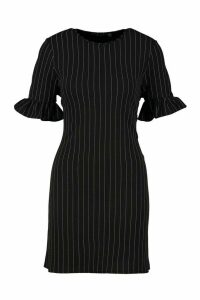 Womens Stripe Ruffle Sleeve Smock Dress - black - 8, Black