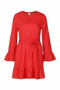 Womens Woven Spot Ruffle Skater Dress - red - 16, Red