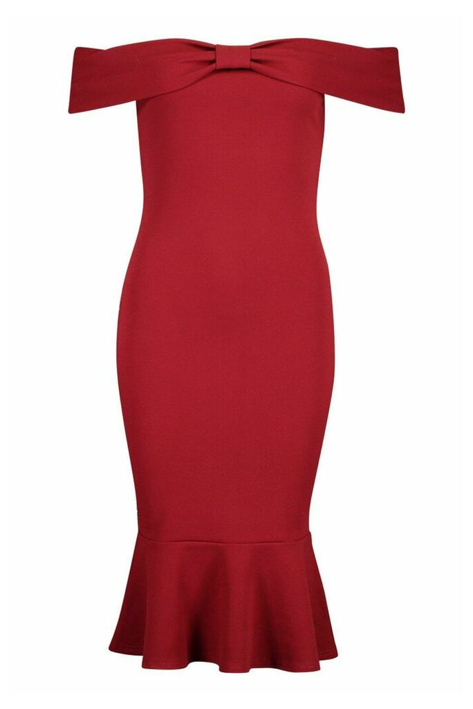 Womens Off The Shoulder Bow Detail Midi Dress - red - 14, Red