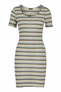 Womens Short Sleeve Stripe Midi Bodycon Dress - beige - 16, Beige