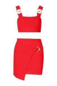 Womens Buckle Detail Crop Top & Mini Skirt Co-ord - red - 10, Red