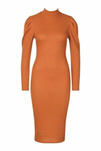 Womens Recycled High Neck Puff Sleeve Midi Dress - brown - 16, Brown