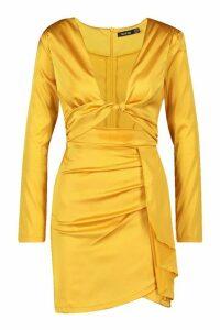 Womens Twist Cut Out Mini Dress - Orange - 10, Orange
