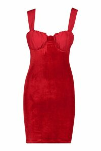 Womens Cup Detail Velvet Dress - red - 16, Red