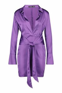 Womens Satin Plunge Wrap Shirt Dress - purple - 14, Purple