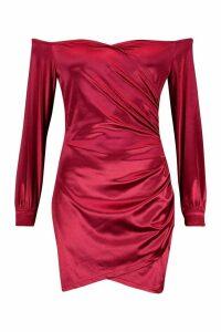 Womens Bardot Off Shoulder Mini Dress - red - 14, Red