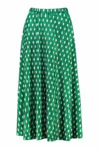 Womens Plisse Polka Dot Skater Skirt - green - 16, Green