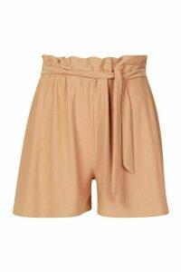 Womens Tie Waist Longline Shorts - beige - 16, Beige
