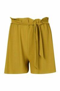Womens Tie Waist Longline Shorts - green - 16, Green