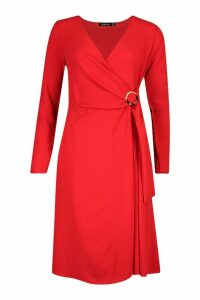 Womens Wrap Front Buckle Detail Midi Dress - red - 12, Red