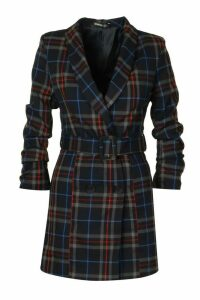 Womens Checked Ruched Sleeve Blazer Dress - navy - 8, Navy