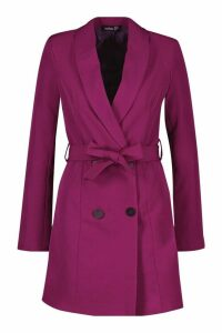 Womens Double Breasted Belted Blazer Dress - pink - 8, Pink
