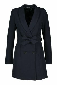 Womens Double Breasted Belted Blazer Dress - navy - 14, Navy