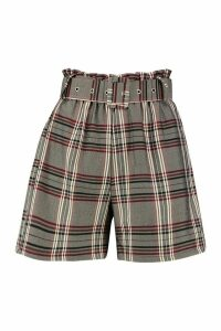 Womens Check Belted City Short - grey - 14, Grey