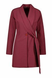 Womens Wrap Lapel Detail Blazer Dress - red - 12, Red