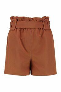 Womens Double Buckle Detail Longline Short - brown - 14, Brown