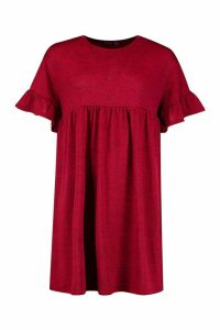 Womens Brushed Frill Sleeve Smock Dress - red - 16, Red