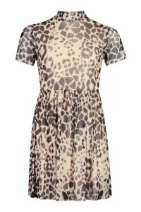 Womens High Neck Mesh Leopard Smock Dress - black - 14, Black