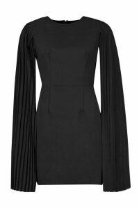 Womens Pleated Cape Sleeve Mini Dress - black - 10, Black