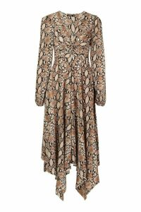 Womens Snake Print Twist Front Midi Dress - brown - 10, Brown