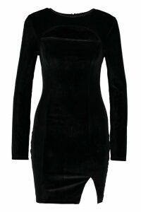Womens Velvet Cut Out Front Mini Dress - black - 16, Black