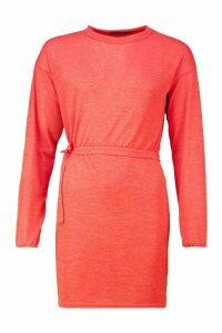 Womens Brushed Funnel Neck Tie Waist Shift Dress - orange - 16, Orange